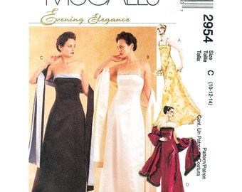 Stole & Strapless Maxi Dress Pattern McCalls 2954 Spaghetti Strap Evening Gown Lined Shoulder Wrap Womens Sewing Pattern Size 10 12 14 UNCUT