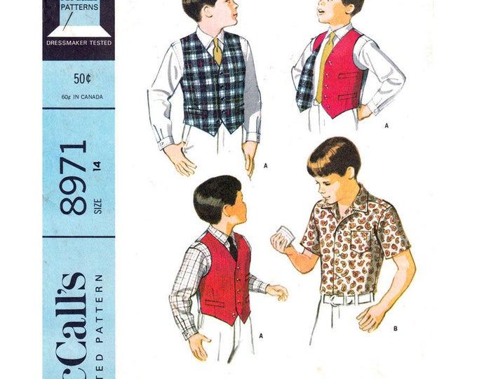 Boys Shirt & Vest Sewing Pattern McCalls 8971 Reversible Waistcoat Short or Long Sleeve Shirt Size 14