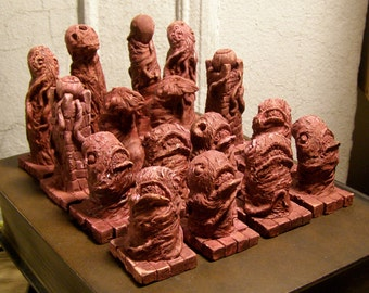 Weird Horror Chess Set in Hues of Char and Blood