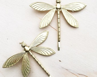 Dragonfly Bobby Pins, Gold Bug Hair Pins, Woodland Wedding, Gold Insect Jewelry, Fairy Bobby Pins, Dragonfly Jewerly, Garden Wedding, Bridal
