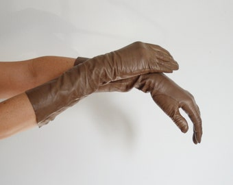 1950s Long Thin Brown Leather Gloves