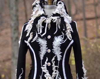 Custom sweater COAT for Lynelle.  Patchwork boho Fantasy boho clothing