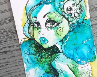 Blue Green Sweet Goth Girl Watercolor Illustration