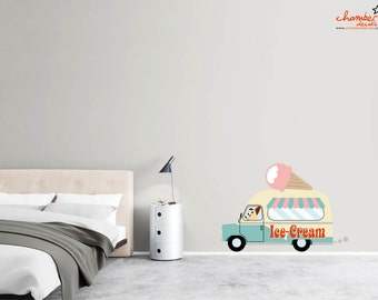 Cute Chihuahuas on Ice-Cream Truck Wall Decal