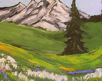 Impressionist Plein Air Painting GRAND TETON Wildflower Landscape Art 16x20 Lynne French