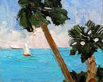 Impressionist Landscape Seascape Painting FLORIDA BEACH Plein Air 8x10 Palm Trees Lynne French