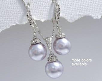 Lavender Jewelry Set, Swarovski Jewelry Set, Lavender Wedding Jewelry, Lavender Necklace and Earrings Set, Bridesmaid Gift, Purple Wedding