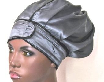 Bella -  Stretch  Satin Wrap Bonnet- In Charcoal Gray