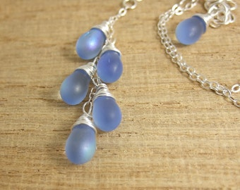 Necklace with a Cascade of Frosty Blue Sapphire AB Glass Teardrops on a Sterling Silver Chain CDN-689
