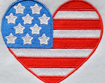 Patriotic Heart 2 Embroidery Design, INSTANT DIGITAL DOWNLOAD, for Machine Embroidery 4x4