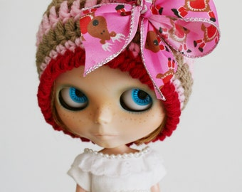 Blythe Holiday Beanie Striped Cloche with Satin Bow Traditional Christmas Colors Pink and Taupe Reindeer