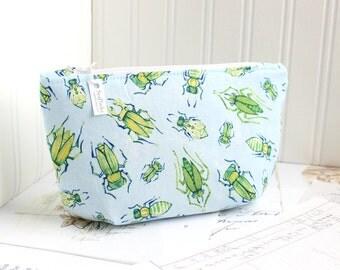 Blue and Green Bugs Cosmetic Bag Makeup Bag Floral Zipper Pouch Organizer Beetles Modern Print