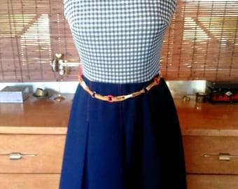 Vintage 60s Navy checkered Mod dress with RWB chain Belt M