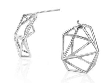 Geometric Earrings, Geometric Stud Earrings, Gifts for Her, Geometric Jewelry, Delicate Bridal Earrings, Geometric Jewelry, Free Shipping