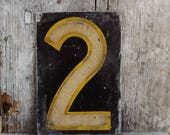 Vintage House Number, Metal Tag, Number2, Number Two, Altered Art, Scrapbooking Supply, Old House Parts, Architectural Salvage