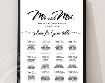 Wedding Seating Chart . Fully Customized (No Headaches) - Mr and Mrs Black Script - Rush Digital File