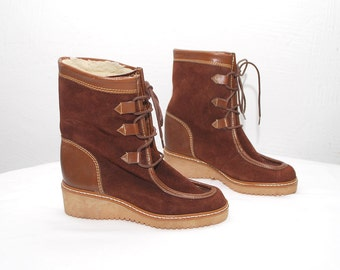 70s rust brown suede boots. warm lace up winter boots. shearling boots - eur 37, us 6.5, uk 4