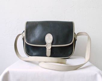 70s 80s POURCHET PARIS French vintage distressed leather bag. crossbody purse. navy and white leather satchel