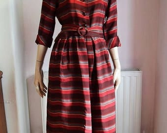 "1940's Stripe Dress 36"" Bust 28"" waist."