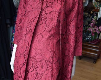 "Carnegie London, 1950's Red Lace Dress and Matching Coat,Bust 42-44"" waist 36-38"""