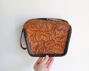 vintage tooled leather boxy bag 40s / 50s
