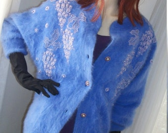 1980s Vintage Lavendar Blue Angora Cardigan Sweater Jacket Lined Embroidered Grape Pattern with Faux Pearls Lovely Size M