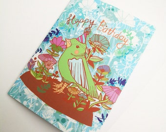 Happy Birthday Green Bird Greeting Card - Birthday Card for Children - Card for Young Teens - Stationery - Paper Goods