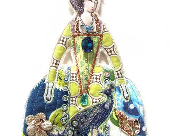 Peacock Dress Marie Antionette Flat Doll Ornament Handmade Fabric Doll Decoration Ornate Embellished Textile Art Doll Fabric Ornament