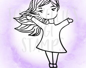 Simple Girl Digi Stamp #4 by Jennibellie