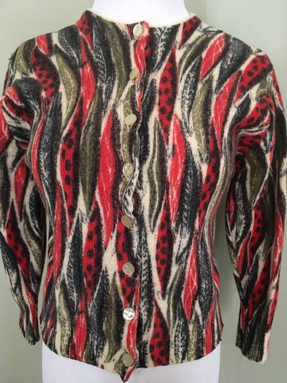 1950s James Kenrub by Dalton Stunning Red and Black Atomic Leaf Pattern Button Down Cardigan Sweater-S