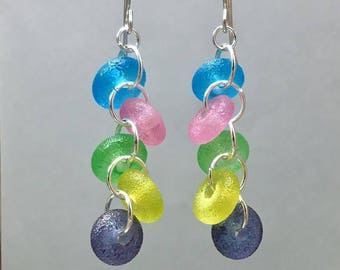 Pastel sparkle bead rainbow dangles with handmade lamwpwork sugar beads, playful statement earrings, soft tropical feminine gifts for women