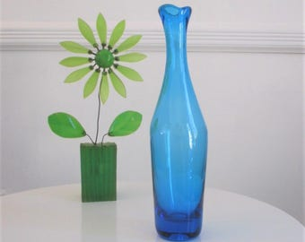 Vintage BLENKO Glass, Mid Century Modern Decanter 64B in Turquoise