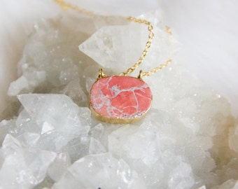 Pink Turquoise Oval Necklace