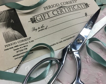 Gift Certificate, Perfect Holiday Gift for corset and costume lovers, friends and family, easy Christmas gift stocking stuffer
