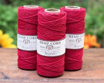 Red Hemp Cord, 1mm  205 Feet,  Red Hemp Twine, Colored Hemp Twine -T1