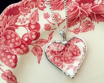 Johnson Bros Strawberry Fair broken china jewelry heart pendant necklace red toile English transferware. recycled china
