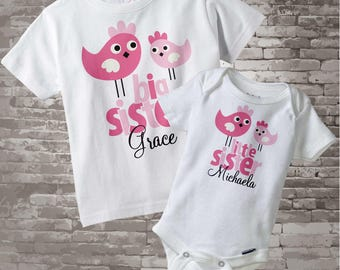 Big Sister Little Sister Shirt set of 2, Sister Bird Shirt, Sibling Shirt, Personalized Tshirt with Cute Pink Birdies (12092011a)