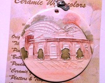 MILLER PARK Handmade Ceramic-Watercolor Baseball Stadium Ornament  with tiny baseball cap charm and free gift wrap