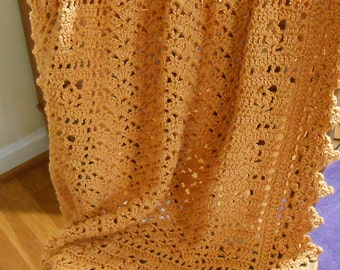Hand Crocheted Orange Baby Afghan - Sunset Sweet Dreams Baby Blanket - Free U.S. Shipping