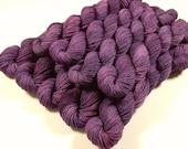 Mini Skeins, Hand Dyed Yarn, Sock Weight 4 Ply Superwash 100% Merino Wool - Deep Lilac Tonal - Fingering Yarn, Purple Violet