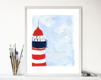 The Lighthouse Art Print, lighthouse print, nautical art, coastal stile, beach cottage, nursery art, Blue sky, Red, minimalist landscape