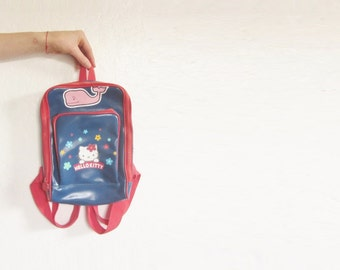 retro kawaii Hello Kitty backpack . navy blue red pvc plastic Sanrio purse