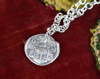 Sterling silver vintage medieval pendant-necklace.Wax Seal