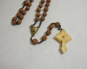 Vintage Carved Bead Rosary with Carved Stanhope Cross