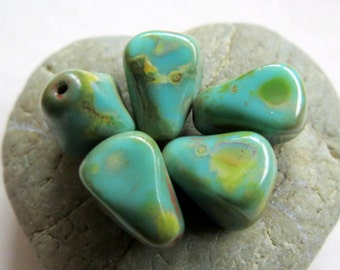 NEW CHUBBY Turquoise DROPS . Czech Picasso Glass Beads . 12 mm (8 beads)
