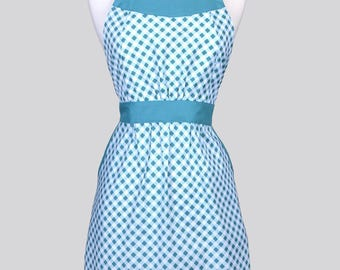 Classic Womens Full Apron / Riley Blake Wonderland Teal Bias Gingham Mothers Day Retro Vintage Style Kitchen Apron Pockets and Fitted Bodice