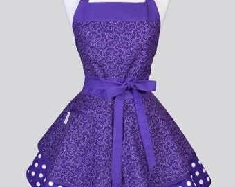 Ruffled Retro Pinup Apron , Purple Lilac Scroll Womans Cute Vintage Style Kitchen Apron with Pockets to Personalize or Monogram