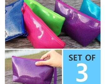 5.50 per bag | Set of 3 Glitter Bright Color PVC Vinyl Zipper Pouches | Cosmetic bag | Party bag | Gift bag | Reusable bag | Travel bag |