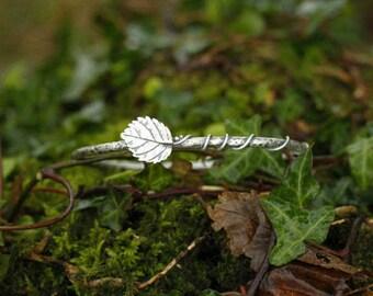 Sterling Silver Elm leaf vine bangle - oxidised and textured - branch bracelet - woodland - twig bangle  - vine bangle - forest jewellery
