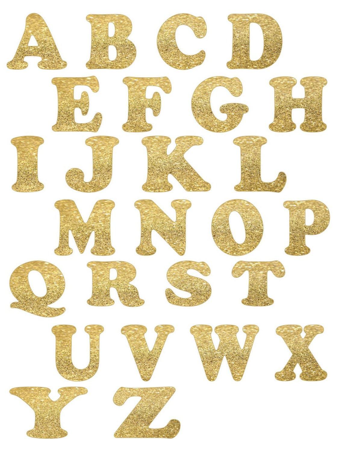gold glitter alphabet letters die cut letters 26 letters With gold die cut letters